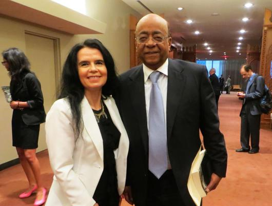 Dr. Mo Ibrahim with Teresa Studzinski, President, GAPWM., A Foreign Policy Association of NY event at the United Nations headquarters in New York.2014.